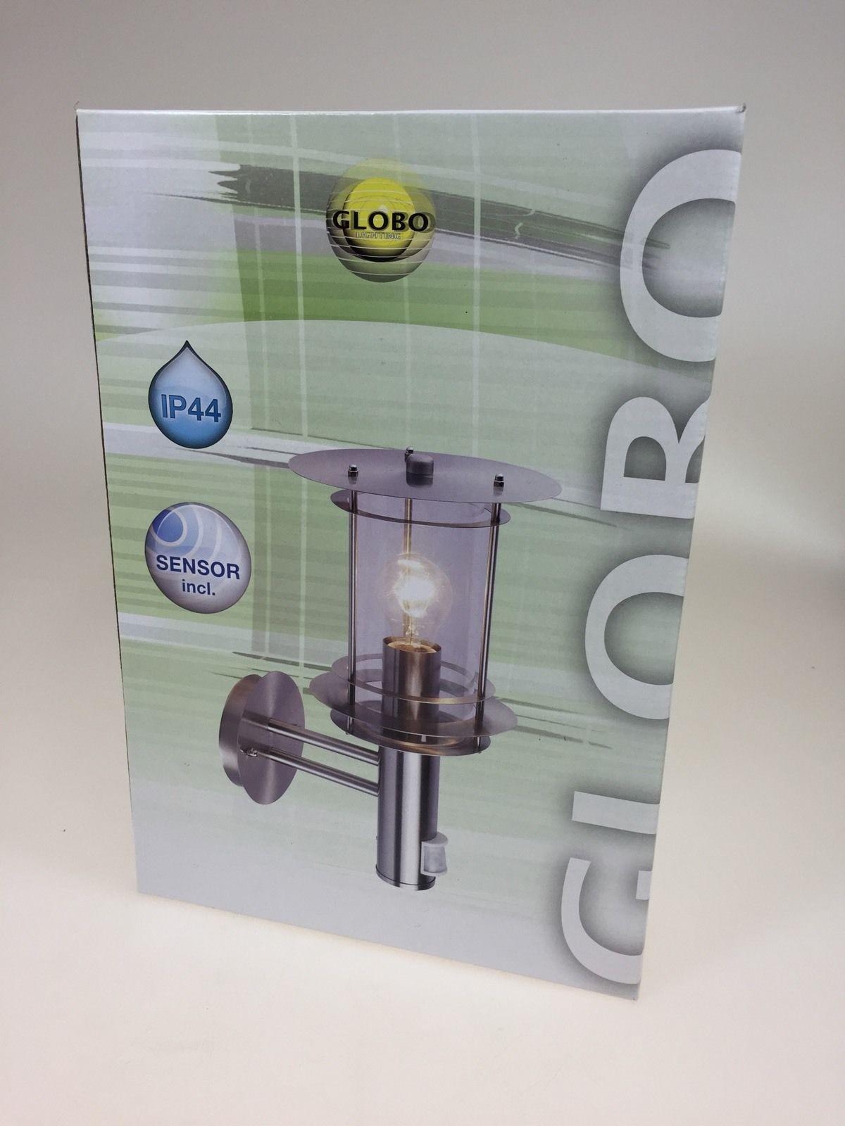 aussenleuchte mit bewegungsmelder leuchte lampe edelstahl globo. Black Bedroom Furniture Sets. Home Design Ideas