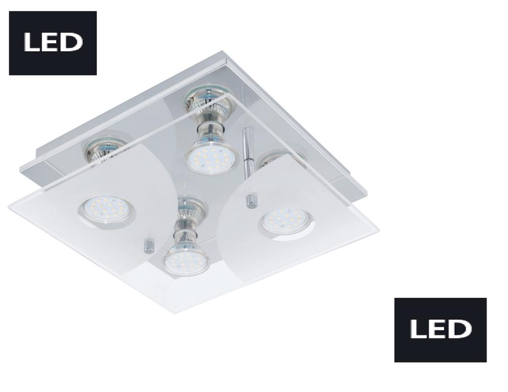 neu led deckenleuchte deckenlampe 4 flammig glas chrom eglo lampe 75216 wohnraumleuchten wand. Black Bedroom Furniture Sets. Home Design Ideas
