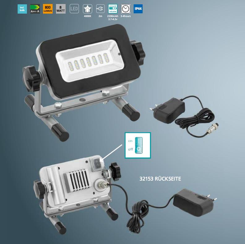 Innovativ Neu LED AKKU LED Strahler Arbeitsleuchte Baustrahler Fluter  CO22