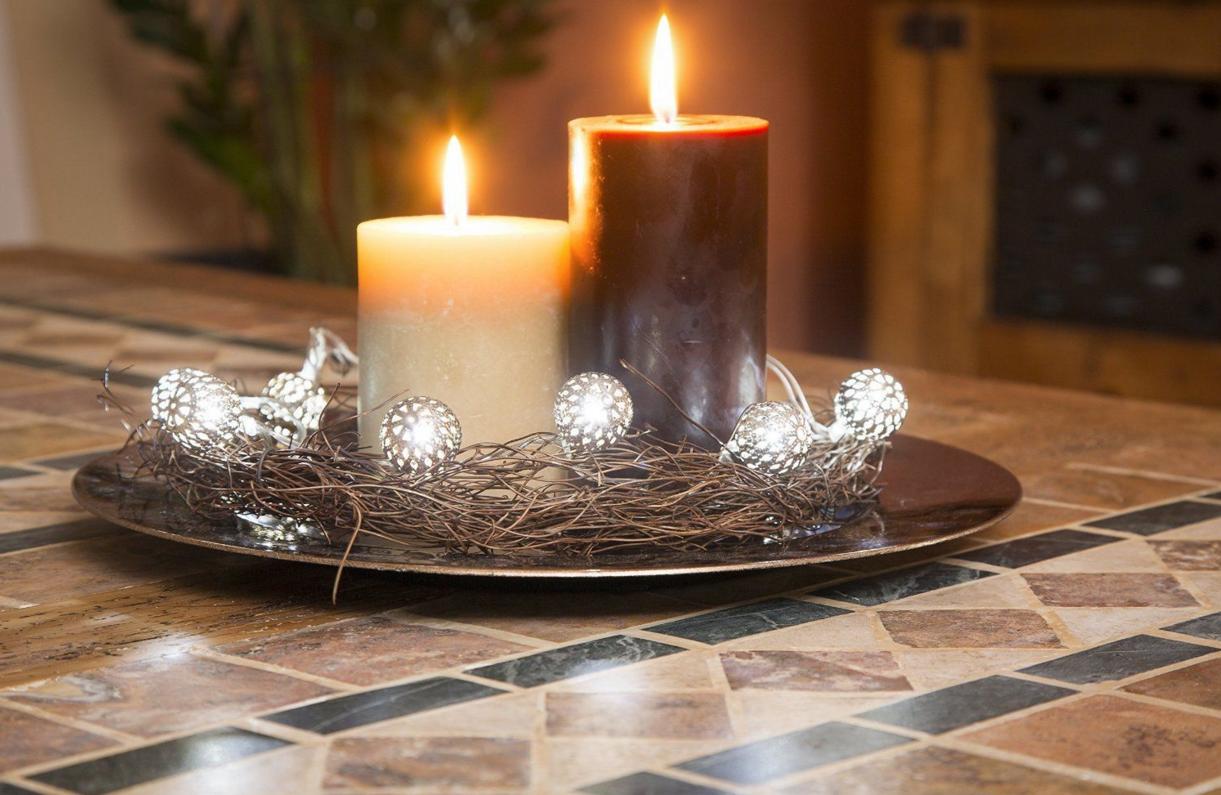 lichterkette kugeln 16 er led warmwei batterie weihnachtsdeko deko silber ebay. Black Bedroom Furniture Sets. Home Design Ideas