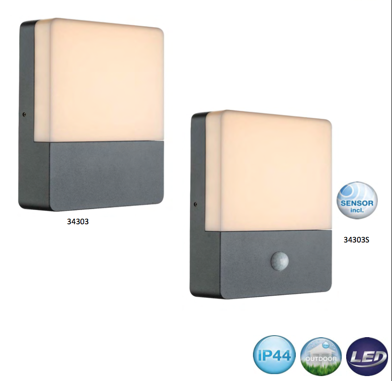 neu led aussenlampe aussenleuchte schwarz bewegungsmelder sensor 34303s aussenbeleuchtung. Black Bedroom Furniture Sets. Home Design Ideas